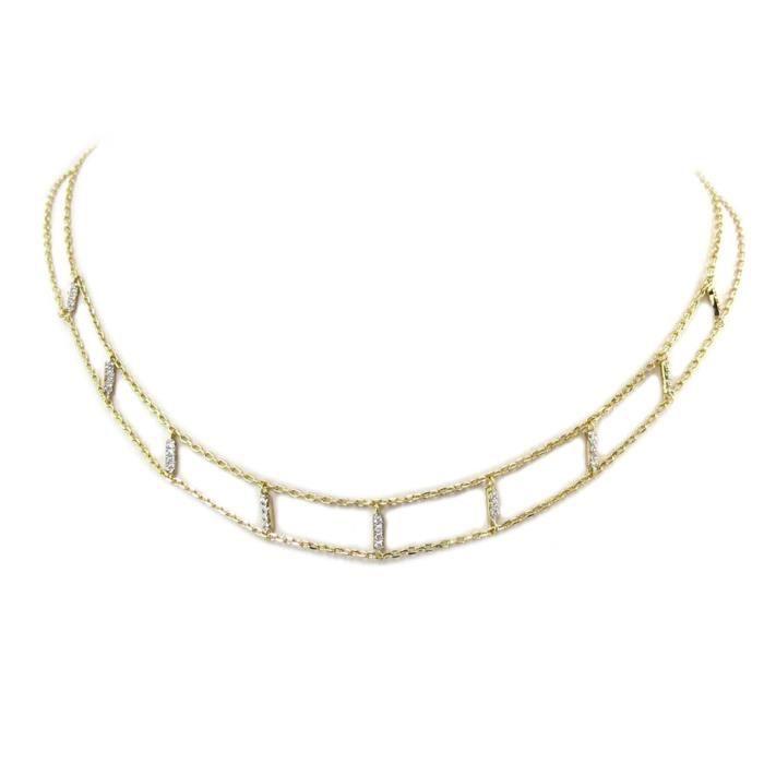 collier ras de cou en or blanc