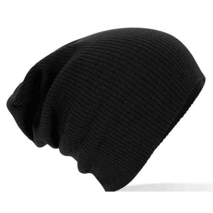 Bonnet Long Fashion Street Wear Homme Femme Noir