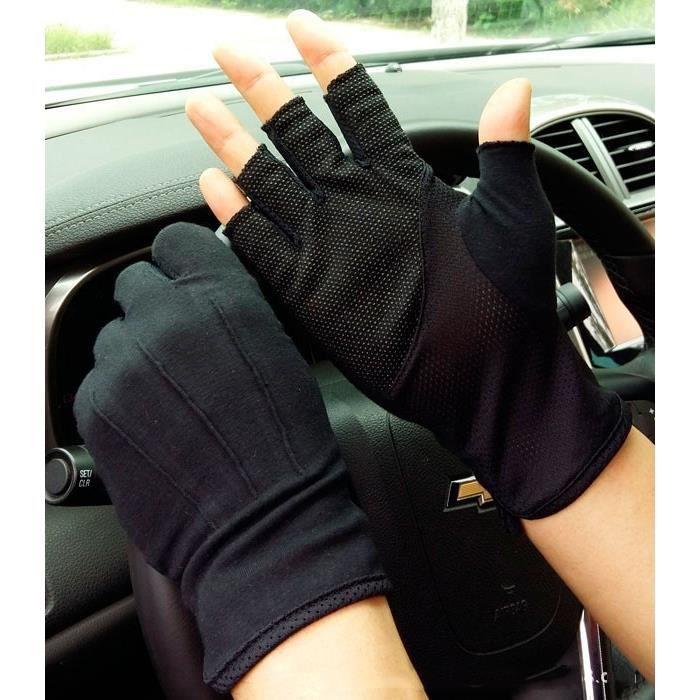 Homme cuir gants cyclisme moto moto voiture bus conduite demi doigt