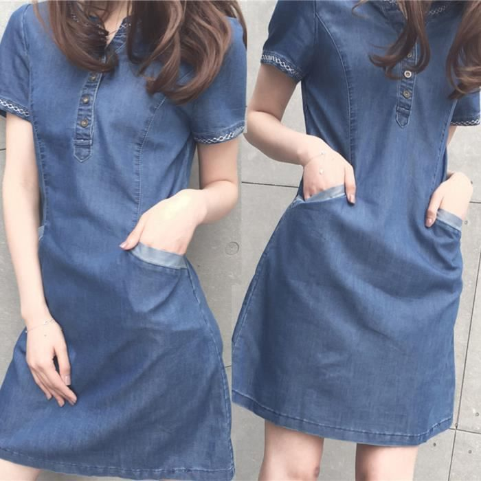 ROBE Femmes d'été Denim Casual élégant cow-boy Section