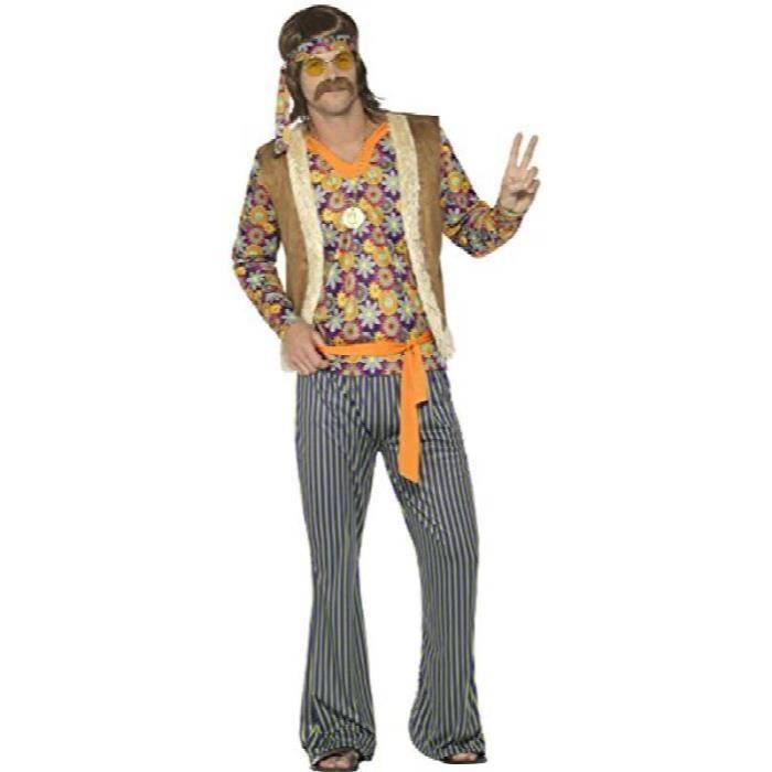 Smiffys Deguisement Homme Chanteur Hippie Annees 60 Avec Haut Gilet Pantalon Ceinture Et Bandeau Taille M Couleur Multicolor Achat Vente Accessoire Deguisement Cdiscount