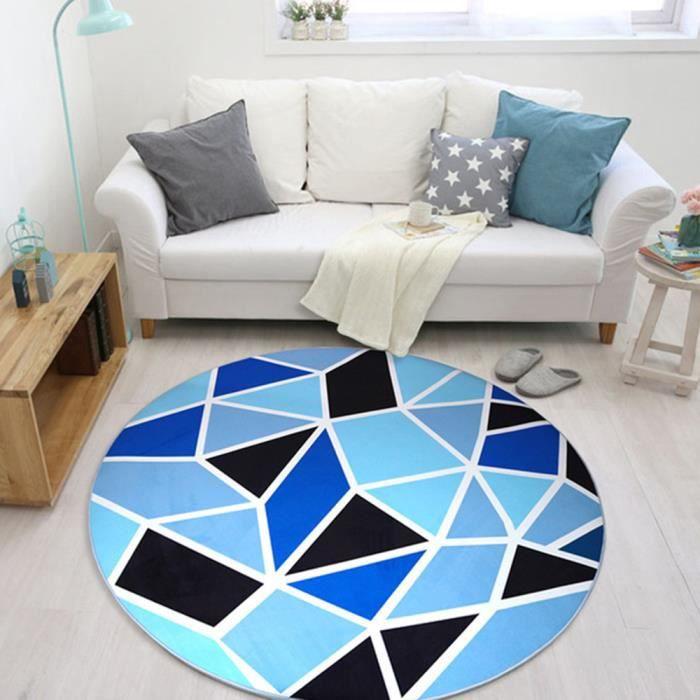 Tapis Rond Salon Chambre F120cm Grand Tapis Simple Decoration Chambre Salon Salle Antiderapant Motif Geometrique Polyester Bleu
