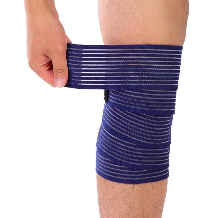 Sport Gym élastique nylon genou jambe Bandage sangle ceinture Garde rouge
