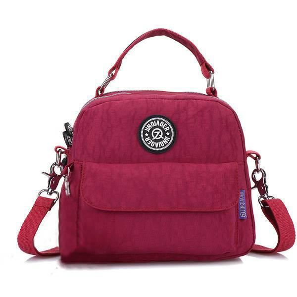 SBBKO570Jinqiaoer Women Multifunctional Nylon Sacs Casual Light Sacs à main Sacs bandoulière étanche Sac à dos Rose rouge