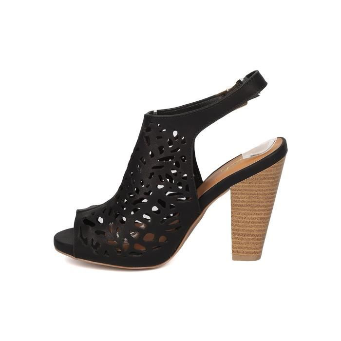 Leatherette Perforated Mule - Dressy, Casual, Everyday - Chunky Heel Mule - Gf27 By SON4Q Taille-40