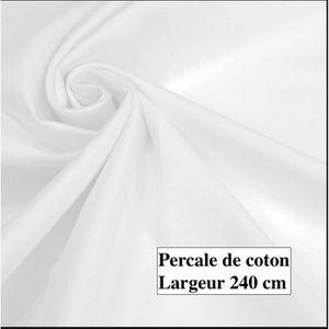 TISSU coton  percale blanc, largeur 240cm Poids 120 gr M