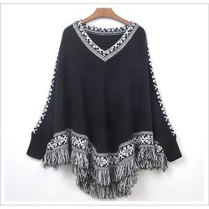 PONCHO Pull Tricot Cape Ourlet Poncho Glands Femme Mod...