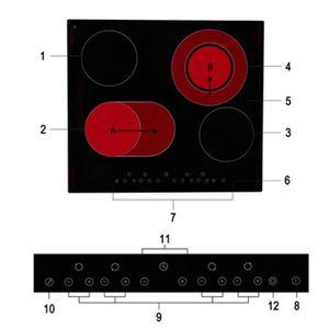 PLAQUE VITROCÉRAMIQUE  Table de cuisson en Schott vitrocéramique 4 foyers