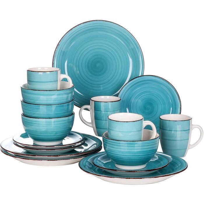 vancasso, Série Bella, Service de Table en Céramique, Assiettes 16 Pièces 4 Personnes, Faïence Style Vintage Rustique- Turquoise