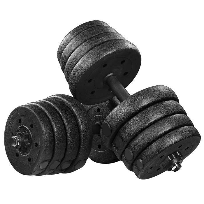 30kg d'Haltères réglables (2,5 kg *4 pièces + 2,0 kg *4 pièces + 1,5 kg *4 pièces + 1,25 *4 pièces +2 barres +4 écrous)BESPORTBLE