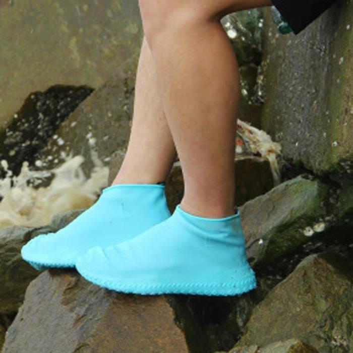 Taille S BLEU Couvre-pied Imperméables Couvre Chaussure Housse Couvre-chaussures en Silicone pour Enfant Mixte