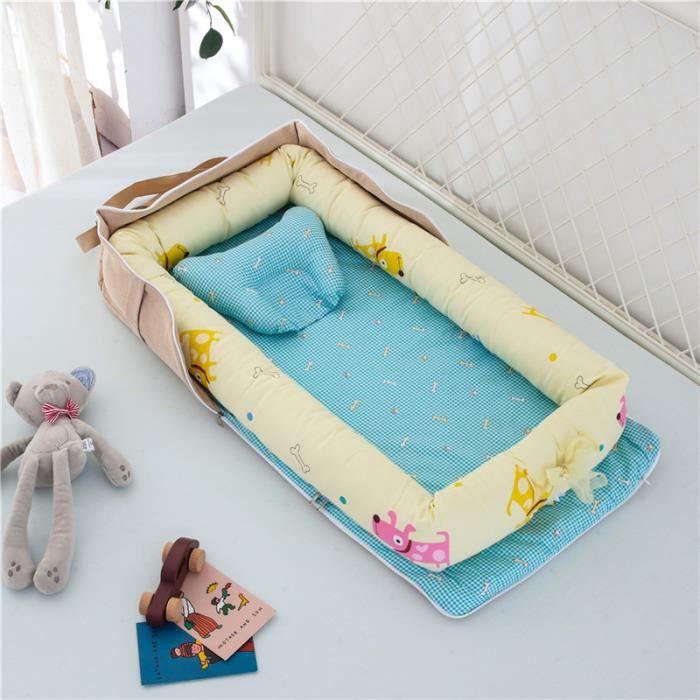 Lit Bébé Portable en Coton Reducteur de lit Pliable Nid pour nouveau-né nourrisson de voyage Lavable Berceau 0-2 Ans, Chien