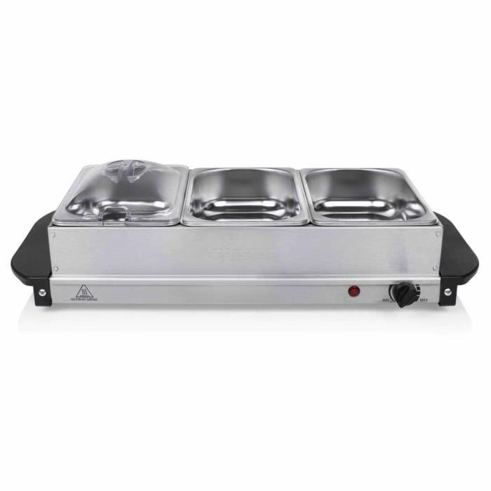 Rétro8258Bon - CHAUFFE-PLAT ELECTRIQUE - Tristar Chauffe-plat pour buffet Style Contemporain - Chafing Dish 200 W 4,2 L Acier inoxyd