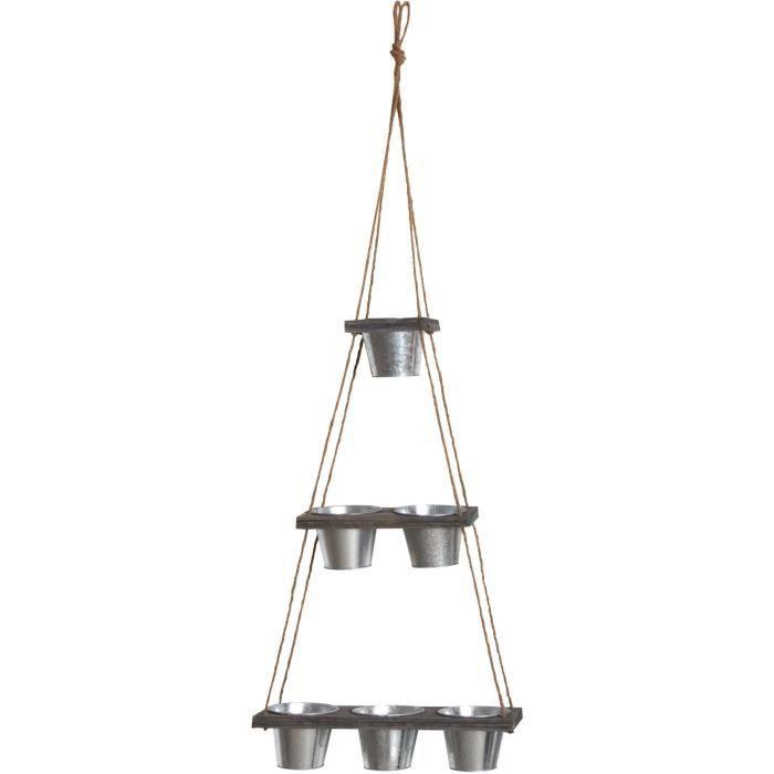 Suspension 6 cache-pots en acier galvanisé 130 cm Gris
