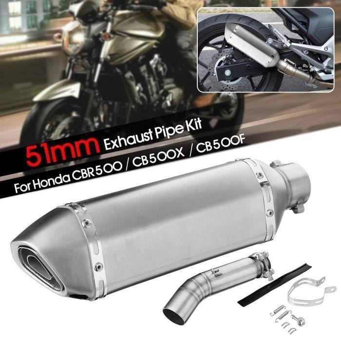 T4W 51mm Moto Kit de Silencieux Tuyau d'échappement Intermédiaire Pour Honda CBR500 CB500X CB500F Type-D