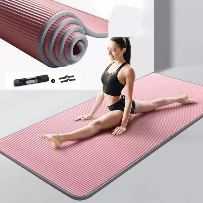 185*80*1cmTapis de Yogaantidérapant, très épais, pour Fitness, Pilates-Ensemble trois pièces sac à dos + coussin + bandage-rose
