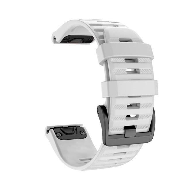 Montre connectée,Chaude 20 22 26mm Sport intelligent Silicone libération rapide sangle de - Type WHITE-20mm Fenix 5S 6S Pro