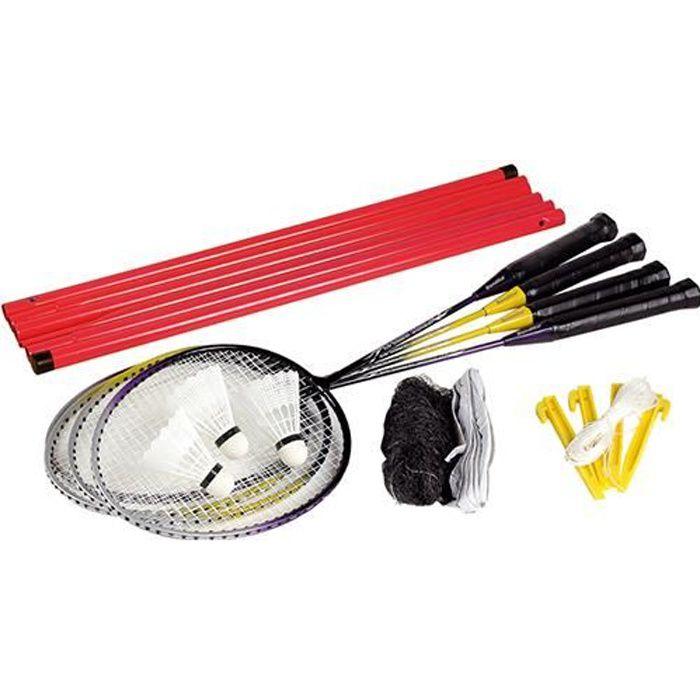 4 raquettes Badminton avec volants et Filet