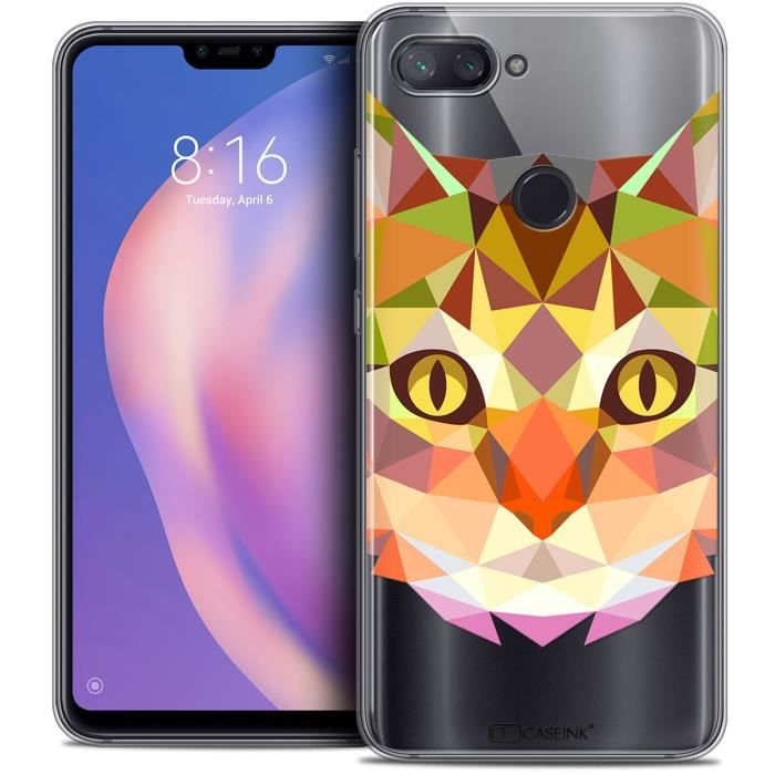 Coque Gel Pour Xiaomi Mi 8 LITE (6.26 ) Extra Fine Polygon Animals - Chat
