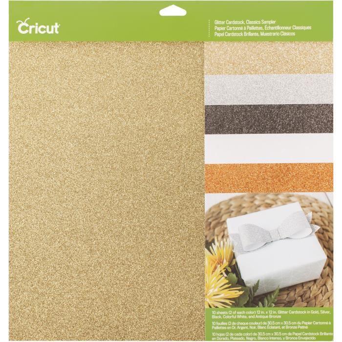 Cricut - 10 blocs de papier cartonné scintillant- 30 x 30 cm