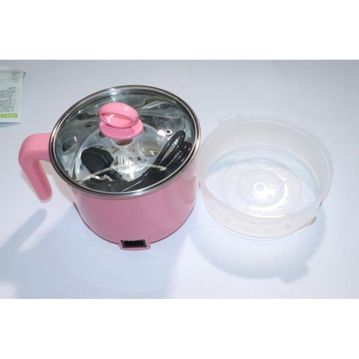 LESHP® Cuisinière électrique en acier inoxydable de 1,8 L avec cuiseur à vapeur pour marmite à riz