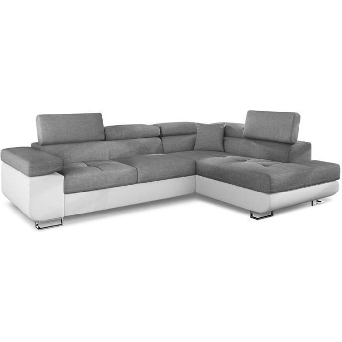 Canapé d'angle Antoni avec têtières relevables angle à droite simili Blanc et tissus Gris clair