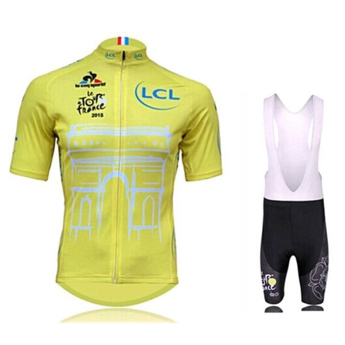 Tour de France Maillot de Cyclisme Manches Courtes + Cuissard Vélo à Bretelles Homme