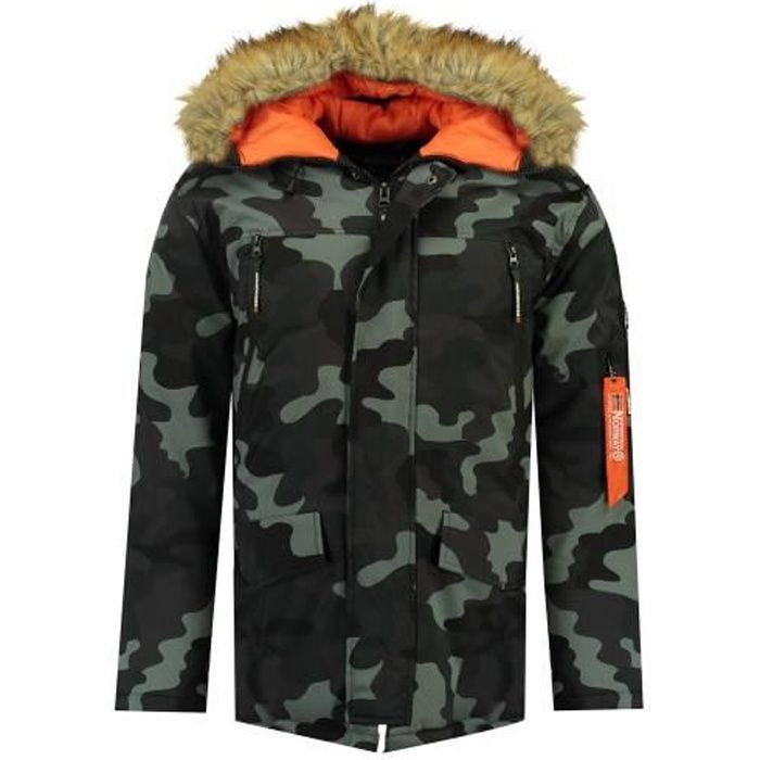 Parka Homme Geographical Norway Arnold Hood Fur Camo Marine