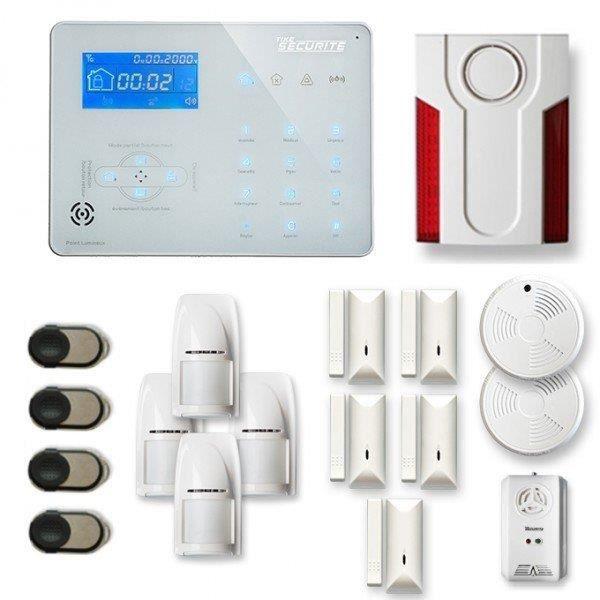 Alarme maison sans fil ICE-B 4 à 5 pièces mouvement + intrusion + détecteur de fumée + gaz + sirène extérieure - Compatible Box inte