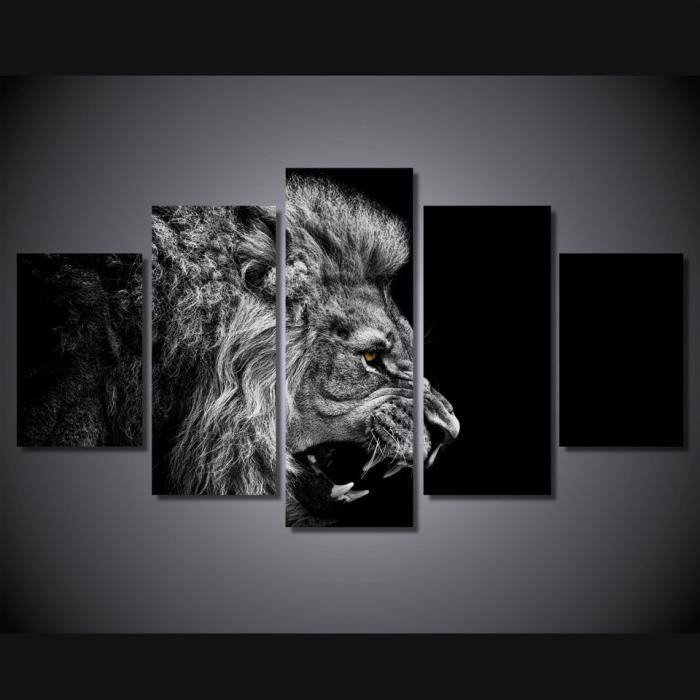 lion blanc noir peintures modernes sur toile tableau affiche photos pour salon cuadros. Black Bedroom Furniture Sets. Home Design Ideas