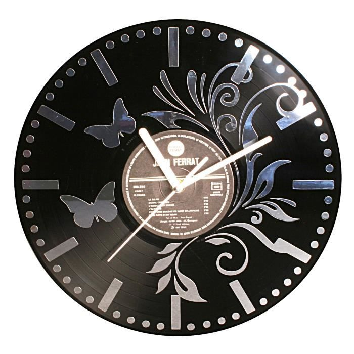 horloge pendule murale ornemental papillon disque vinyle 33 tours adh sif effet miroir achat. Black Bedroom Furniture Sets. Home Design Ideas