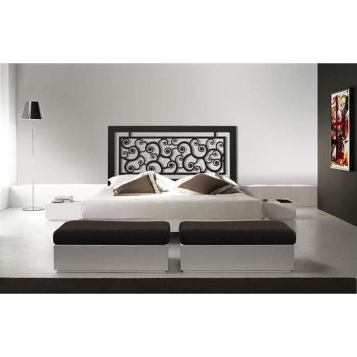 t te de lit en fer forg mod le escargots achat vente t te de lit cdiscount. Black Bedroom Furniture Sets. Home Design Ideas