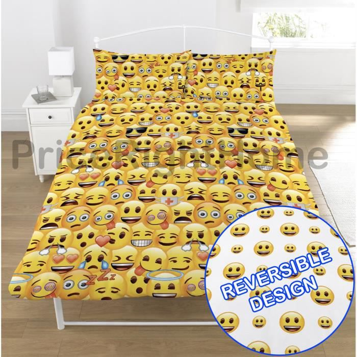 Emoji multi smiley faces double housse de couette et taies for Housse de couette multicolore