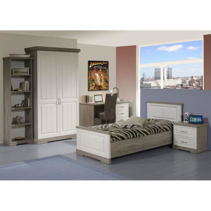 chambre coucher enfant dominique 90 x 200 cm truffle et porcelaine achat vente chambre. Black Bedroom Furniture Sets. Home Design Ideas