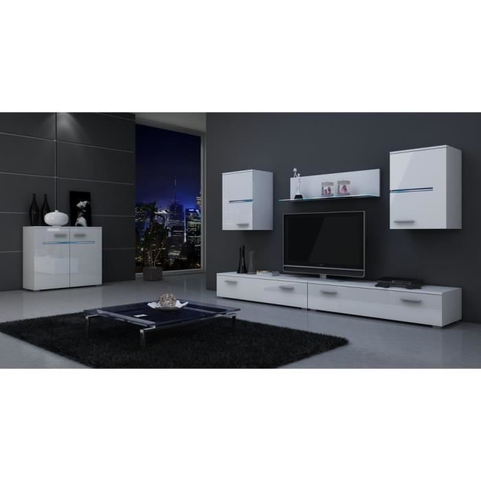 belle unit murale macon blanc matte blanc laqu livraison gratuite achat vente meuble. Black Bedroom Furniture Sets. Home Design Ideas