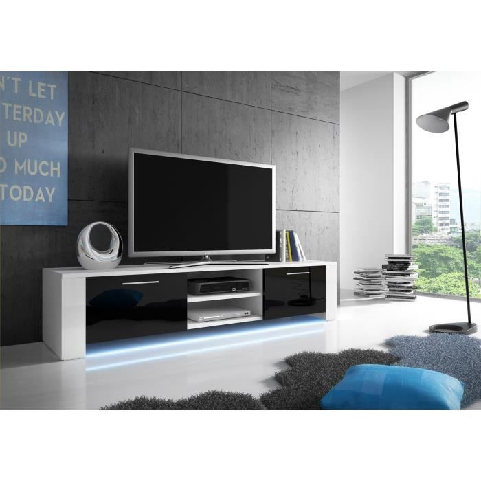 Meuble tv bendi blanc mat noir brillant led achat for Meuble tele a led