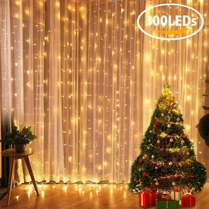 YUE GANG Lumi/ères de Rideau 300 LED Guirlandes Lumineuses Rideau 8 Modes dEclairage D/éco Maison,Decoration de Fen/être,No/ël,Mariage,Anniversaire,F/ête Blanc Chaud Etanche IP44