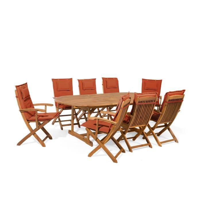 Ensemble de jardin de 8 chaises avec coussin assise rouge brique Maui