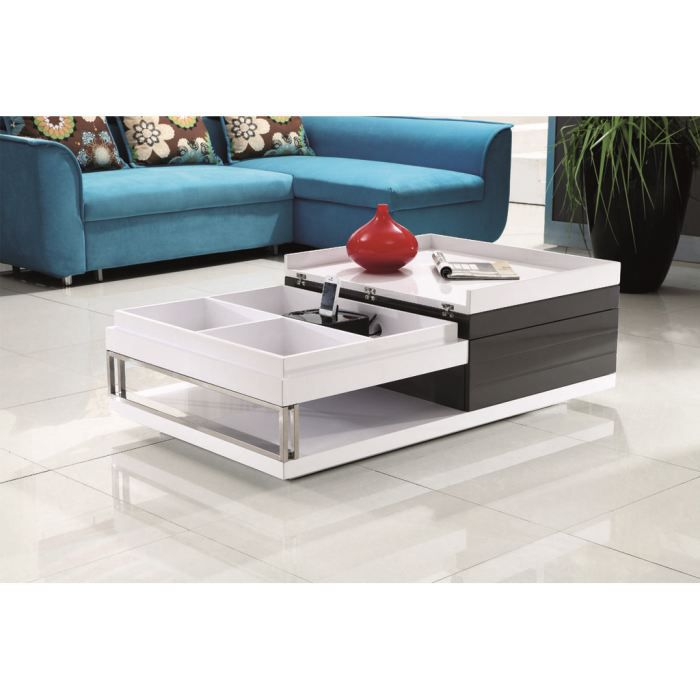 Table basse laqu e blanc gris anthracite dizzy achat for Table basse gris anthracite