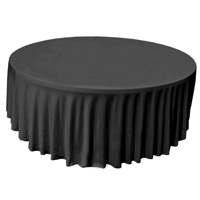 nappe housse pour table de r ception ronde 180 cm noire achat vente nappe de table soldes. Black Bedroom Furniture Sets. Home Design Ideas