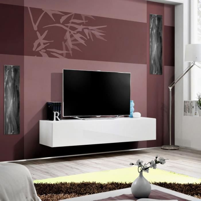 Paris prix meuble tv mural design fly i 160cm blanc for Meuble mural fly
