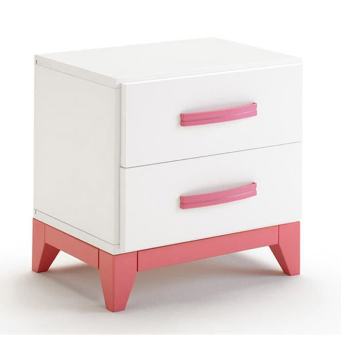 Table de chevet en bois coloris blanc et rose avec 2 - Table de chevet murale contemporaine ...