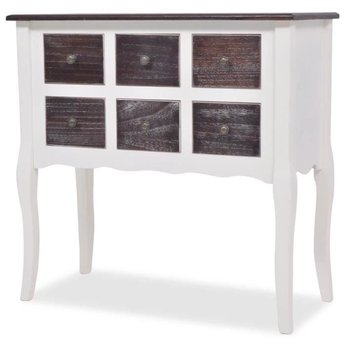 console armoire en bois blanc avec 6 tiroirs achat. Black Bedroom Furniture Sets. Home Design Ideas