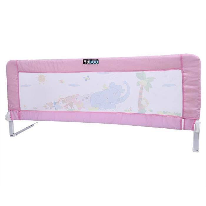 1 5m barri re de lit de enfant protection de s curit barri re anti chute de lit rose - Barriere protection lit enfant ...