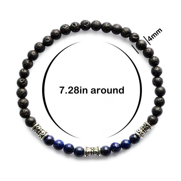 Womens Mhz Jewelry Lava Rock 7 Chakra Beads Healing Bracelet Yoga Mala Meditation Prayer 4mm Stret KWHGC