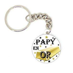 PORTE-CLÉS Porte clé badge PAPY en OR idée cadeaux original P