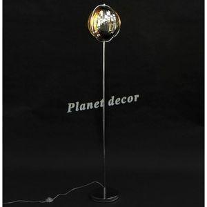 LAMPADAIRE LAMPADAIRE DESIGN 'SIBEL' CHROME AVEC LAMELLES FLE