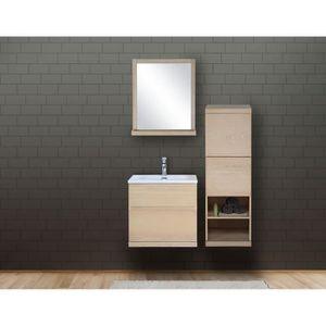 SALLE DE BAIN COMPLETE Ensemble salle de bain chêne 60 cm meuble + vasque