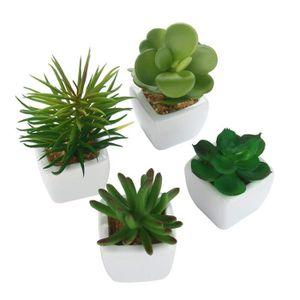 le bureau et la d/écoration ext/érieure Faux Faux Cactus Avec Pots Gris Id/éal pour la maison Maison /& White Ensemble de 6 plantes succulentes artificielles