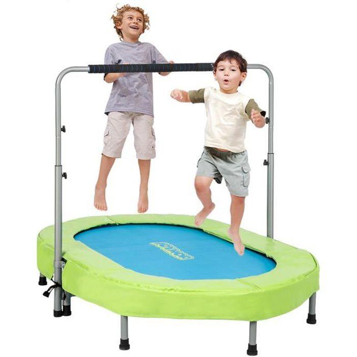 Mini Trampoline Fitness Pliable Exterieur-Interieur pour Adulte et Enfant avec Poignée, Capacité de Charge 100 kg Bleu et Vert